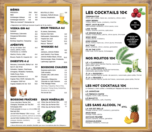 Carte des boissons : cocktails, boissons & alcools